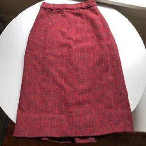 Vintage handmade red wool skirt